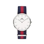 【Daniel Wellington】CLASSIC瑞典時尚品牌經典簡約尼龍腕錶-藍紅x銀-40mm/DW00100015/原廠兩年保固
