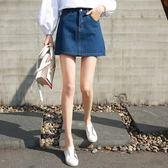 春夏新品韓版牛仔裙女A字裙修身裙褲女短裙深藍色半身裙子女