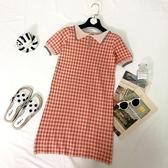 流行夏天裙子很仙的法國小眾復古Polo領短袖格子針織連身裙女 韓國時尚週