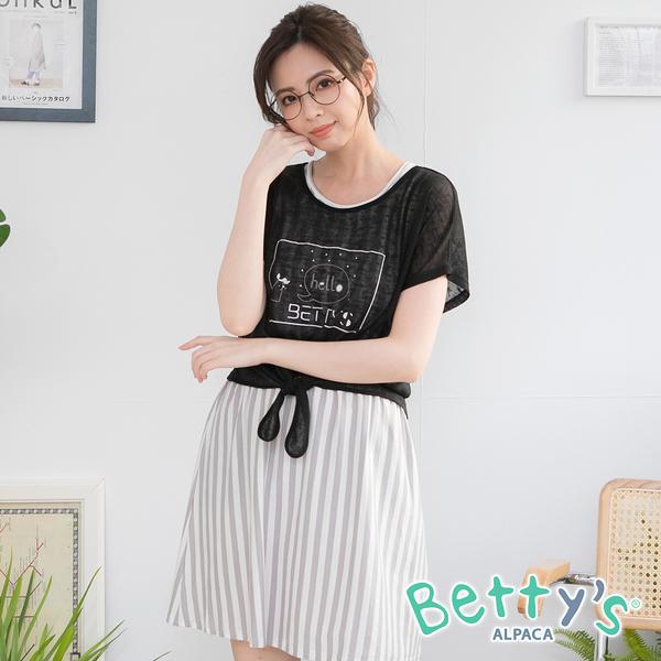 betty's貝蒂思 兩件式透紗印花條紋洋裝(黑色)