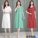 媽媽洋裝 2021新款中老年純棉綢連身裙女大碼時尚氣質裙子年輕媽媽夏裝洋氣 維多原創