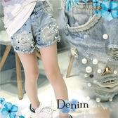 大童超時尚-淡色刷色-刷破鬚邊牛仔熱褲短褲~熱賣追加到貨(290249)【水娃娃時尚童裝】