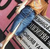 EASON SHOP GU6914 水洗單寧深藍單排扣正面開衩牛仔裙女過膝裙高腰顯瘦短裙半