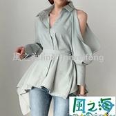 襯衫韓國氣質優雅翻領單排扣鏤空后背繫帶小心機漏肩燈籠袖襯衫女 【風之海】