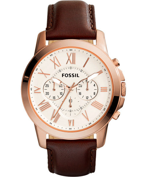 FOSSIL Grant 旗艦三眼計時復刻腕錶/手錶-銀x玫塊金框x咖啡/44mm FS4991