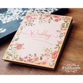 愛的博物館の手繪玫瑰 結婚禮金簿 粉色婚禮簽到冊 簽到本 簽名冊 初見居家