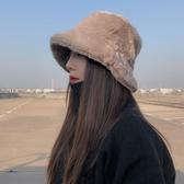 冬季女加厚仿兔毛平頂日系漁夫帽盆帽百搭純色保暖加厚仿皮草帽子  免運快速出貨