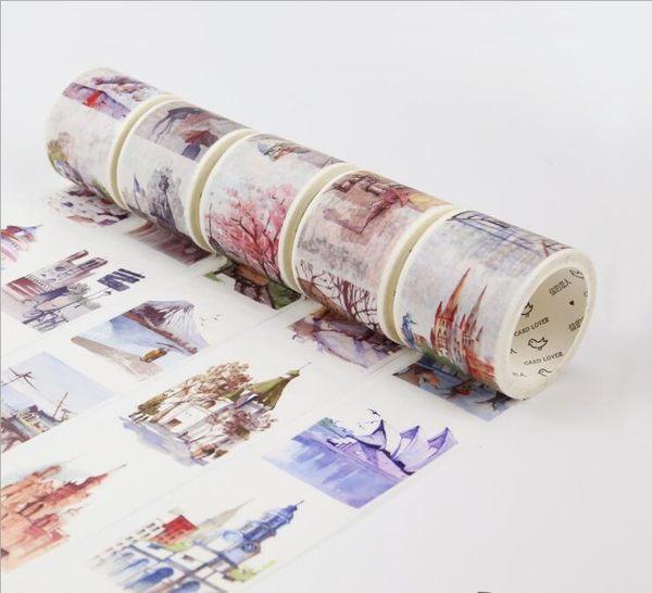 和紙 膠帶 全世界 路過 旅行 手繪 建築 日本 手帳 貼紙 40mm*7m
