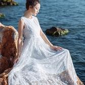 長洋裝 波西米亞風-浪漫唯美蕾絲無袖女連身裙73mw13【巴黎精品】