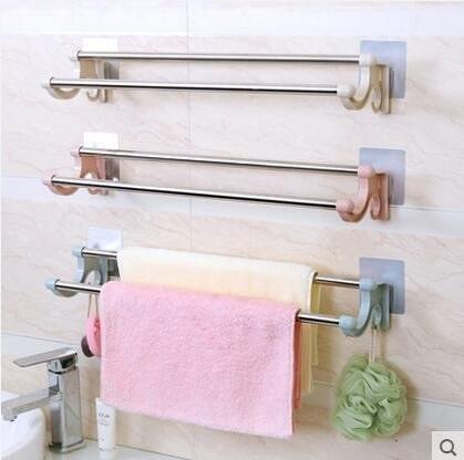 毛巾架免打孔粘貼浴室廚房抹布架毛巾掛鉤手巾桿-J
