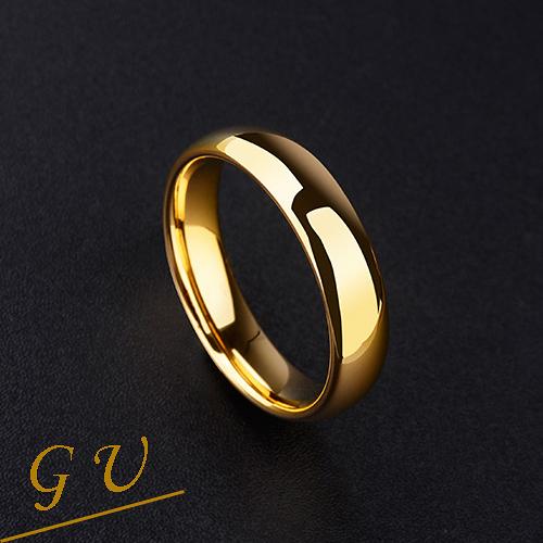 【GU】W32 男友生日禮物鎢鈦男戒女戒尾戒鎢鋼鈦鋼戒 GresUnic Agloce 18K金烏玄戒指