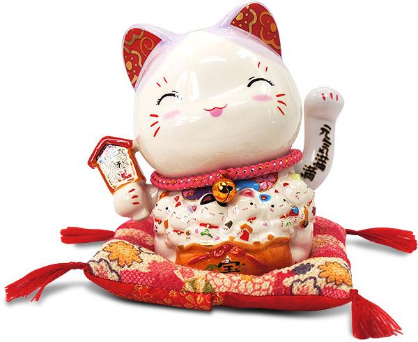 【金石工坊】幸福滿滿富貴貓招手貓(高14CM)搖手招財貓 陶瓷開運風水擺飾 新居落成 結婚禮物