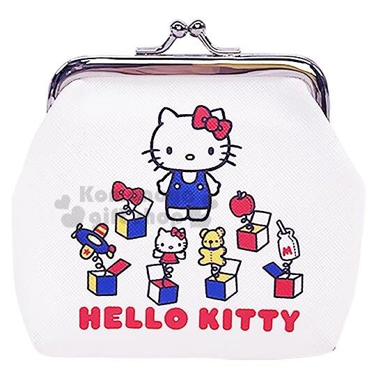 〔小禮堂〕Hello Kitty 皮質口金零錢包《紅白.驚奇箱》收納包.耳機包 4901610-60636