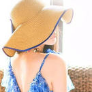 Qmigirl 夏天歐美復古大波浪蝴蝶結 草帽 遮陽帽 沙灘帽【QG606】帽子