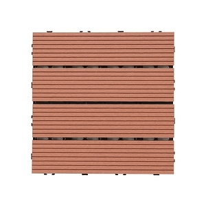 樂嫚妮 塑木地板 30x30cm 五款 9入 0.25坪淺紅色