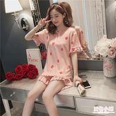 少女學生短袖睡衣春夏季套裝韓版甜美可愛外穿大碼純棉寬鬆家居服