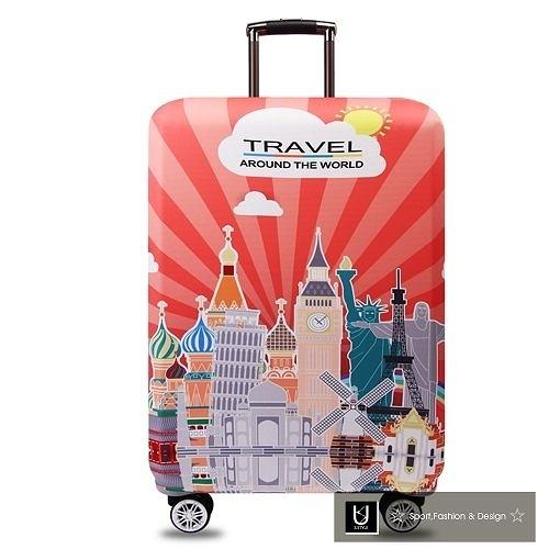 【US.STYLE】環遊世界26吋旅行箱防塵防摔保護套