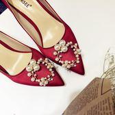 高跟鞋紅色婚鞋女新娘鞋細跟水鉆淺口尖頭【不二雜貨】