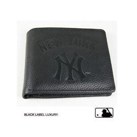 Backbager 背包族【MLB 美國大聯盟 洋基】橫式 皮件 名片夾/皮夾/短夾/錢包-黑色