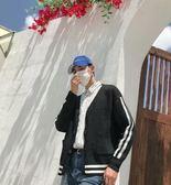 冬季慵懶風毛衣男士韓版潮港風寬鬆日系學生純色針織開衫V領毛衣  後街五號