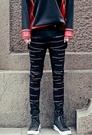 找到自己品牌 男 時尚 街頭 潮 刺繡條紋 牛仔褲 九分褲 小腳褲 窄管褲