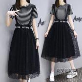XL-5XL大尺碼女兩件套連身裙肥女寬鬆中長款藏肉洋氣女裙