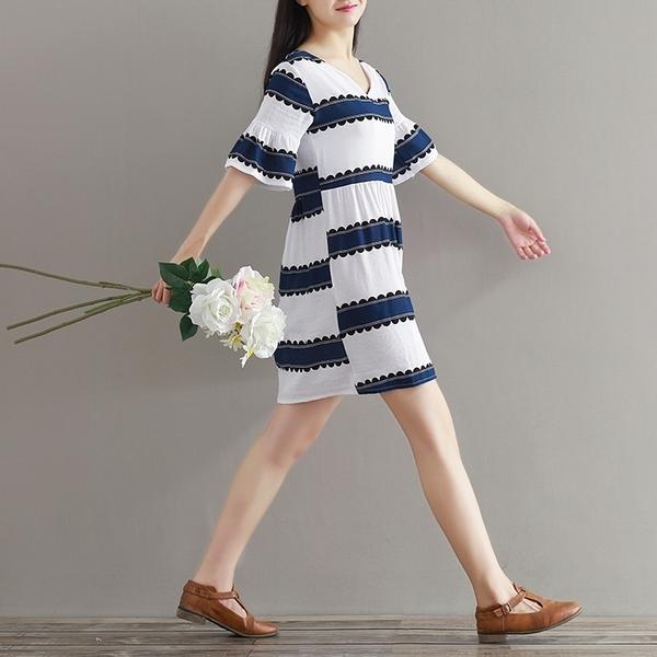 東京奈奈日系棉麻條紋V領短袖森林系洋裝[j3631]