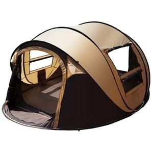 【IDOOGEN】一房兩廳5~6人全自動快速帳篷/速搭帳/秒開帳/帳篷(咖啡色)