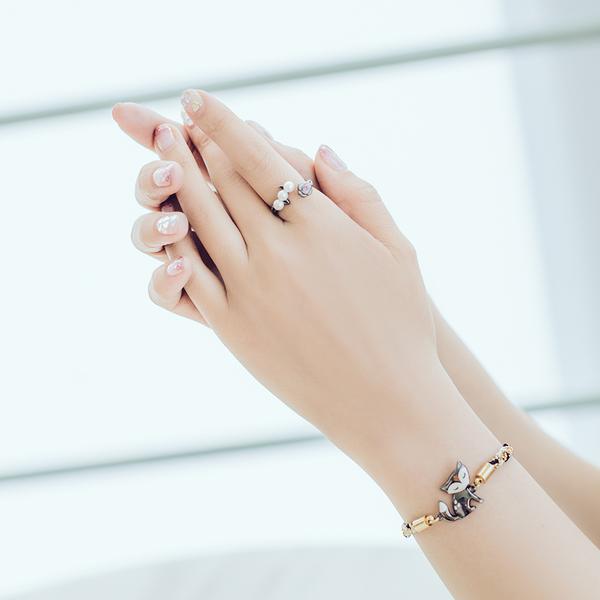 【正韓】P.Y 黑色玫瑰珍珠戒指 16K黑金