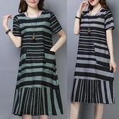 棉麻 配條感拼接顯瘦洋裝 獨具衣格