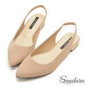 訂製款 金屬鞋跟後空尖頭低跟鞋-艾莉莎Alisa【1071122】棕色下單區