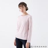 【GIORDANO】 女裝純棉條紋T恤 - 84 粉白條紋