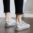 網紗小白鞋女水鉆百搭單鞋2021夏季新款網紅水晶鞋透氣平底板鞋女 快速出貨