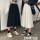 半身裙 港風chic工裝裙女2021春夏季新款學生復古高腰顯瘦A字半身裙女夏 【99免運】