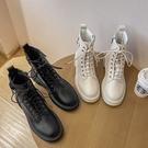 馬丁靴 中筒靴 馬丁靴女春秋單靴2021年新款白色百搭英倫風潮ins酷冬季加絨短靴