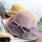 草帽-蝴蝶結沙灘捲邊優雅氣質時尚生日情人節禮物女遮陽帽5色73eq49[時尚巴黎]
