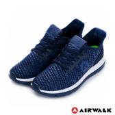 美國AIRWALK-破冰 網眼透氣雙層大底輕量運動鞋-男藍
