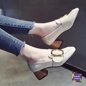 小皮鞋 女鞋小皮鞋女英倫風2019秋季新款方頭中跟復古鞋子韓版粗跟單鞋潮【快速出貨】