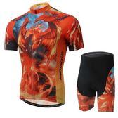 自行車衣-(短袖套裝)-烈焰鳳凰帥氣速乾男單車服套裝73er3【時尚巴黎】