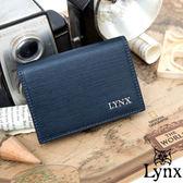 Lynx  80 復古風真皮系列簡約式名片夾沉穩藍
