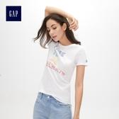 Gap女裝 時尚印花圓領短袖T恤 469015-白顏色