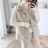 羊羔毛馬甲女秋冬皮毛一體馬夾短款百搭坎肩背心外套