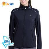 快速出貨 UV100 防曬 抗UV-涼感彈力反光立領運動外套-女