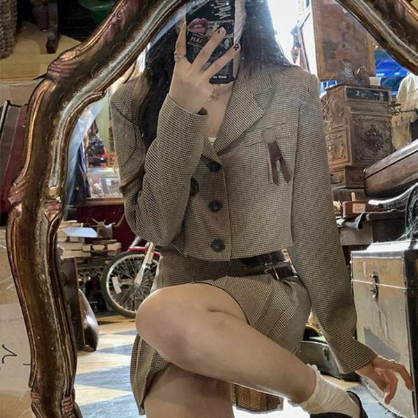 長袖洋裝 禮服 連身裙復古千鳥格子套裝女氣質時尚西裝外套百褶裙兩件套NE68-A1 胖妞
