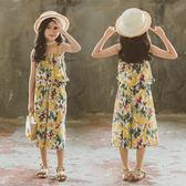 女童套裝夏 2019韓版兒童無袖印花童裝 中大童吊帶兩件套