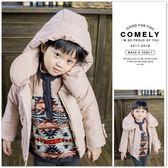 水蜜桃絨保暖鋪棉連帽外套 長袖 質感 氣質 童裝 女童 保暖 韓版【 哎北比童裝】