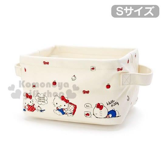 〔小禮堂〕Hello Kitty 方形帆布雙耳收納籃《S.米白》收納箱.洗衣籃.玩具藍 4901610-08239
