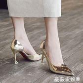 跟鞋5-8cm 尖頭女士高跟鞋銀色細跟側空女鞋 單鞋 薇薇家飾