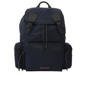 【BURBERRY】THE RUCKSACK尼龍拼皮革軍旅後背包(墨藍色)4020937