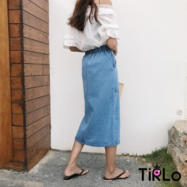牛仔裙 -Tirlo-推薦! 前大口袋開衩牛仔鉛筆裙-一色/SML(現+追加預計5-7工作天出貨)